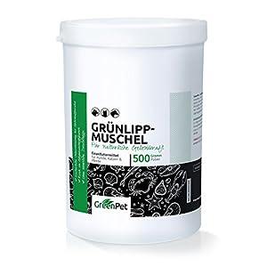 immagine di GreenPet Green Lipped Mussel Powder 500g - Prodotto Naturale per Cani e Gatti, Joint Powder Naturrein, Active Joint Power per sostenere Le articolazioni, Ossa, legamenti, tendini, dalla Nuova Zelanda
