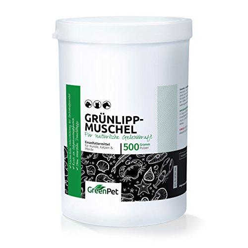 GreenPet Grünlippmuschel-Pulver 500g - Naturprodukt für Hunde und Katzen, Gelenk-Pulver Naturrein, Aktiv Gelenk-Kraft zur Unterstützung Gelenke, Knochen, Bänder, Sehnen, Premium Qualität aus Neuseeland