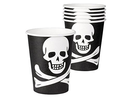 Alsino Lot de 6 gobelets en Carton d'une contenance de 25cl Couleur Noire avec Un imprimé tête de Mort (74168) Très Jolis Verres Pirate en Carton pour la décoration de la Table d'anniversaire