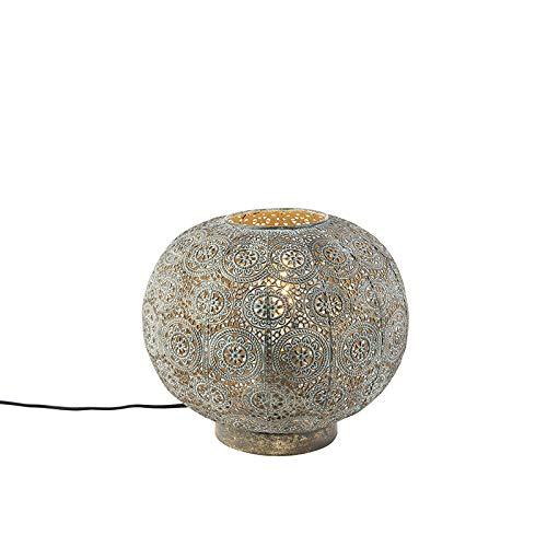 QAZQA Klassisch/Antik/Orientalisch Orientalische Tischlampe 28,5 cm - Baloo/Innenbeleuchtung/Wohnzimmerlampe/Schlafzimmer Stahl Kugel/Kugelförmig LED geeignet E27 Max. 1 x 40 Watt