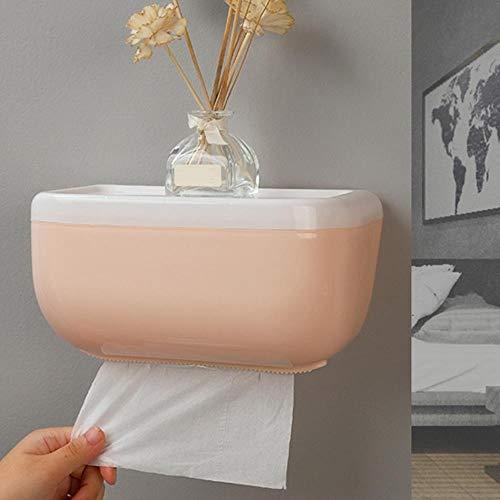Multifunctionele toiletrolhouder Badkamer Plastic tissues Doos Opbergrek Wandmontage Keukenrolhouder Plank Waterdicht, Roze
