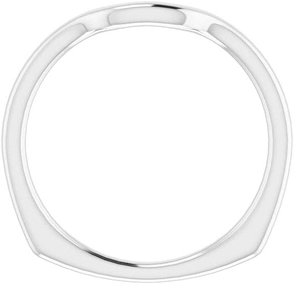 Solid Platinum Curved Notched Wedding Band for 8 x 6mm Emerald Ring Guard Enhancer - Size 7