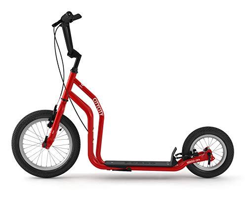 Yedoo City Scooter RunRun - Monopattino con ruote Offroad, 16/12 pollici, colore rosso