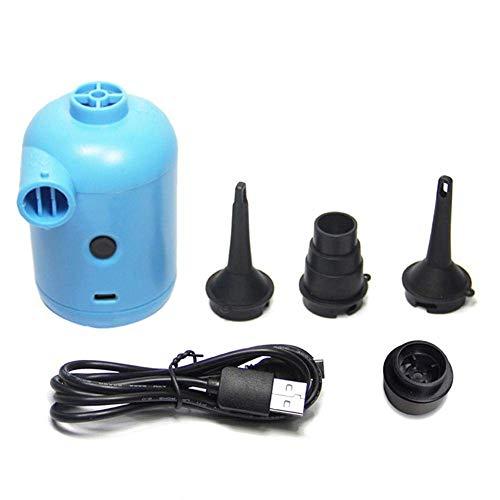 Bomba de aire eléctrica - Bomba de aire eléctrica USB portátil - Bomba de aire de llenado rápido del inflador con 3 boquillas - Bombas de flotador de la piscina del deflactor para el colchón de aire d