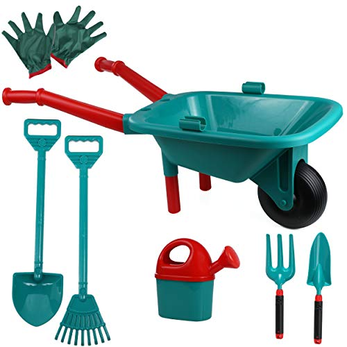 High Bounce Kids Plastic Wheelbarrow with Garden Accessories- Gardening Gloves, Watering Can, Shovel, Hoe, Rake, Fork