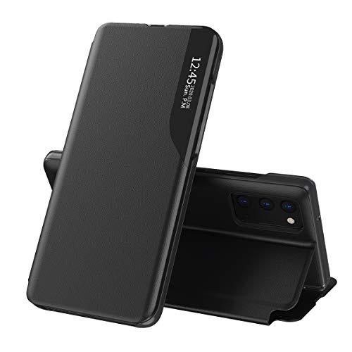TANYO Funda Smart View para Xiaomi Redmi Note 10 Pro, Prima PU Cuero Carcasa con Clear Ventana, Moda Espejo Estuche Movil con Soporte Plegable, Case Cover - Negro