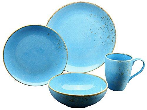 Creatable, 19991, Serie NATURE COLLECTION Mediterran, Geschirrset 4 teilig Blue Single Set, Stein, Azurblau, 30 x 16 x 32 cm, 4-Einheiten