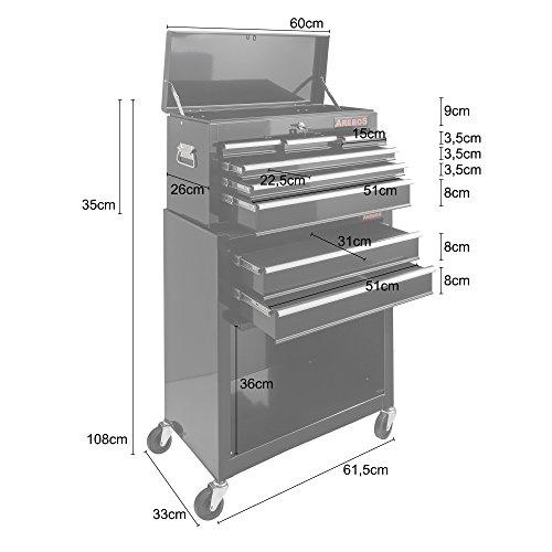 Arebos Werkstattwagen 9 Fächer/zentral abschließbar/Anti-Rutschbeschichtung/Räder mit Festellbremse/Massives Metall/rot oder schwarz (Schwarz) - 7