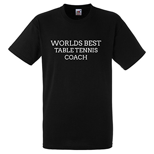 Worlds Best Table Tennis Coach Funny Gift T Shirt Large Black Tee with White Print