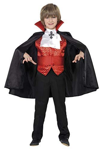 Smiffys Disfraz de drácula para niño, con capa, fajín, corbanda y chaleco, Negro/Rojo, Talla 10/12 anos