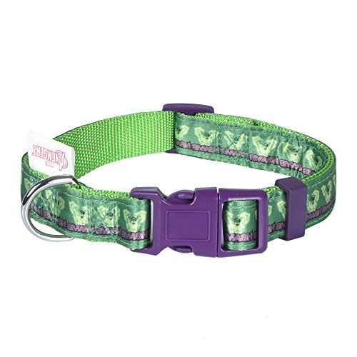 Marvel Comics The Hulk Dog Collar, Medium Green & Purple | Officially Licensed Marvel The Incredible Hulk Dog Collar | Medium Dog Collar for Medium Dogs with D-Ring, Cute Dog Apparel & Accessories