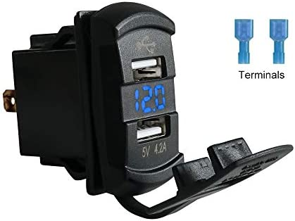 UNIGT Quick Charge QC 3.0 USB Charger Port Compatible with Polaris UTV ATV SXS Boat with Blue LED Backlit Universal Rocker Style
