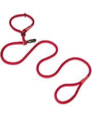 Hundefreund Retriever lijn   lijn en halsband uit één product   200 cm lijn en halsband in één, rood met ring ter voorkoming van beperkingen aan de hals