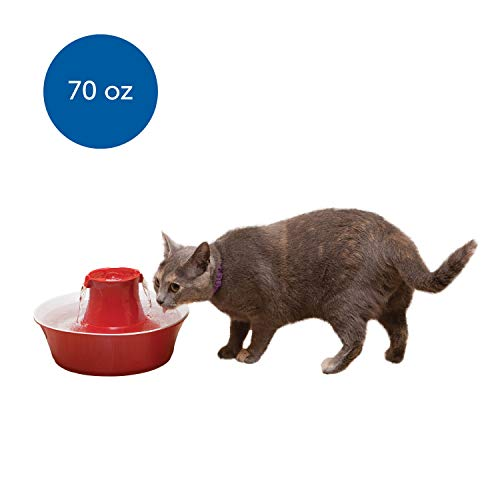 PetSafe Drinkwell Avalon Pet Water Fountain, Ceramic Drinking Fountain for Cats and Dogs, 70 oz. Water Capacity, Red