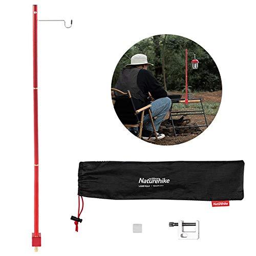Camping Lampenstange, tragbare und leichte dreiteilige Aluminium-Lampenstange Außenlaterne Licht Lampenbügel Zeltstange für Picknick, Wandern, Rucksackreisen