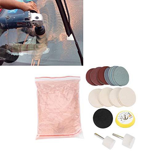Eliminación de rayones de Vidrio Kit de Pulido de Vidrio Eliminación de rayones de Parabrisas Pulido de Vidrio Dióxido de cerico Almohadilla de Pulido Fieltro de dióxido de cerico