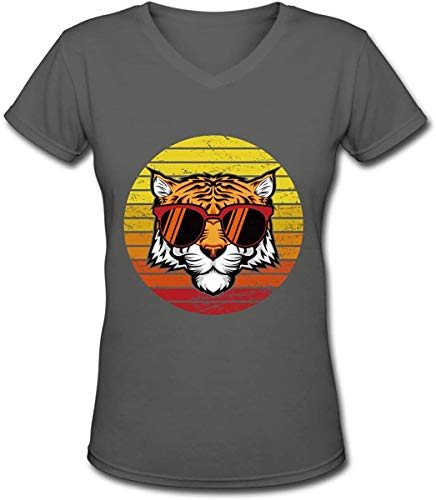 Women's Tiger Retro Sunset Vector-01 Short Sleeve V Neck T-Shirts,Multicolored,XX-Large