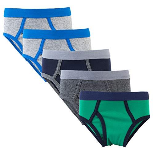 JEELINBORE 5er-Pack Jungen Slips, Atmungsaktiv und Bequem Jungs Unterhosen Mit Süßem Drucken - Farbe 5, 110