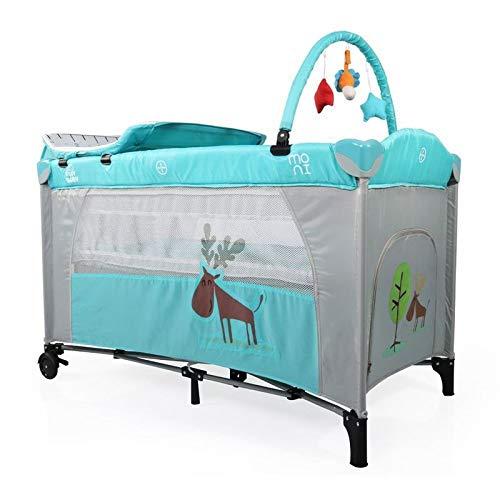Cuna de viaje, parque infantil Happy Baby mosquitero, arco de juego, cambiador, rollos, color:azul claro