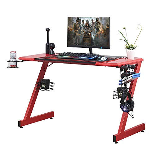 HOMYSHOPY Gaming Computer Desks, 48 inch Z-Shaped Gaming Desk with Cup Holder, Game Controller Stand, Headphone Hook and Speaker Storage(Red and Black)