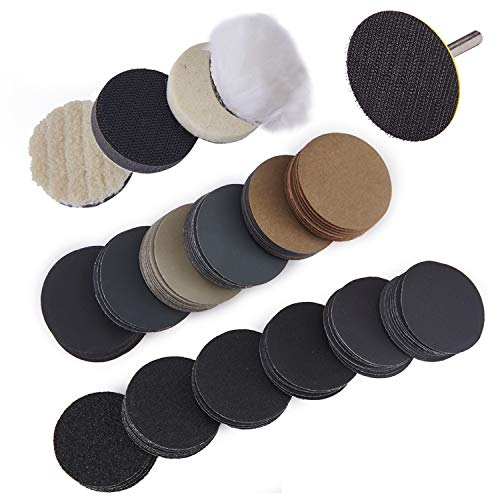 240 unids Discos de Lijado Abrasivo de Pulido 50mm Gancho y Almohadillas de Bucle con Almohadilla de Respaldo de Vástago de 1/4' Granos 60-10000 para Coche de Joyería de Espejo de Metal de Madera