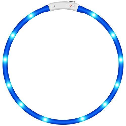 KEKU LED Collar de Perro de Mascota, llevó USB Recargable Collar de Seguridad para Mascotas Impermeable hasta la Longitud de 50 cm (19.5in) Collar de Destello Ajustable (Azul)
