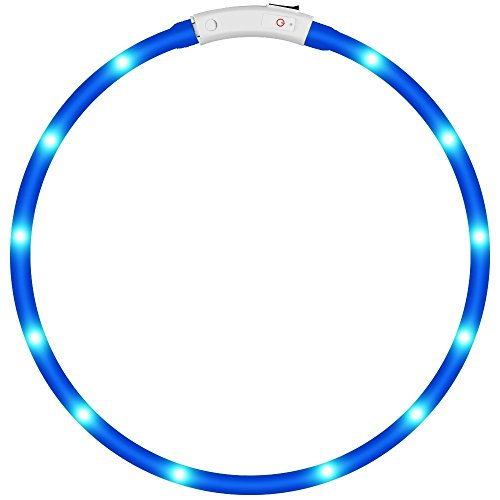 KEKU LED Collar de Perro de Mascota, llevó USB Recargable Collar de Seguridad para Mascotas Impermeable hasta la Longitud de 50 cm (19.5in) Collar de Destello Ajustable (Azul)