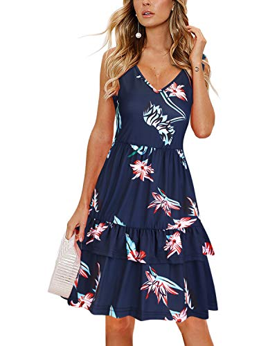 OUGES Women's V Neck Floral Print Sleeveless Summer Dress Ruffle Casual Sundress with Pockets(Floral03,XL)