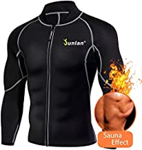 Men Sweat Neoprene Weight Loss Sauna Suit Workout Shirt Body Shaper Fitness Jacket Gym Top Clothes Shapewear Long Sleeve (Black, XL)