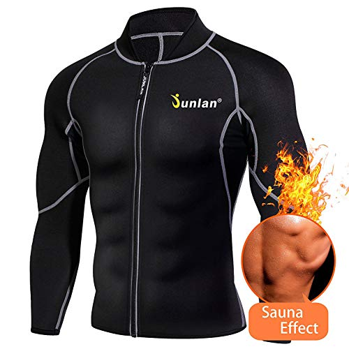 Men Sweat Neoprene Weight Loss Sauna Suit Workout Shirt Body Shaper Fitness Jacket Gym Top Clothes Shapewear Long Sleeve (Black, L)