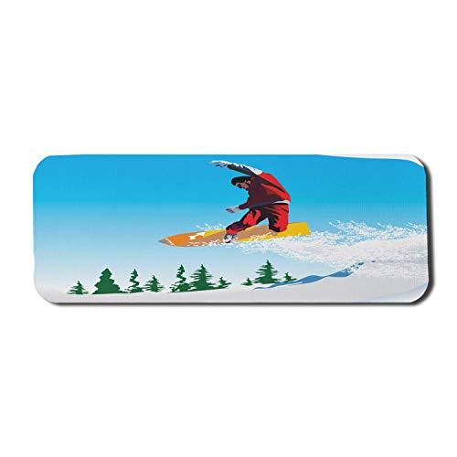 Snowboard Computer Mouse Pad, Snowboarder Illustration in Jump Doing Moves Blau Lebendiger Skifahren Winter Schneeig, Rechteck Rutschfestes Gummi-Mauspad Groß Mehrfarbig