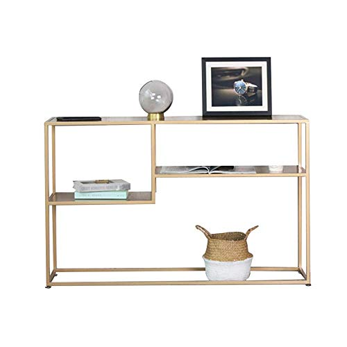 Table Console Table ,Entrance Frame Iron Art Multi-Layer Storage Rack Display Stand Bookshelf Livingroom Sofa Table 30 × 9 × 29 Inch For Living Room Bedroom (Color : Gold) Home