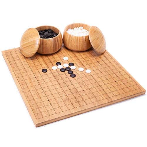 AMEROUS Go Set with Etched Reversible 19x19 / 13x13 Bamboo Board - Single Convex Stones - Bowls, Go Game Set Education for Beginner Kids Adults, Classic Chinese Strategy Board Game ( WEIQI )