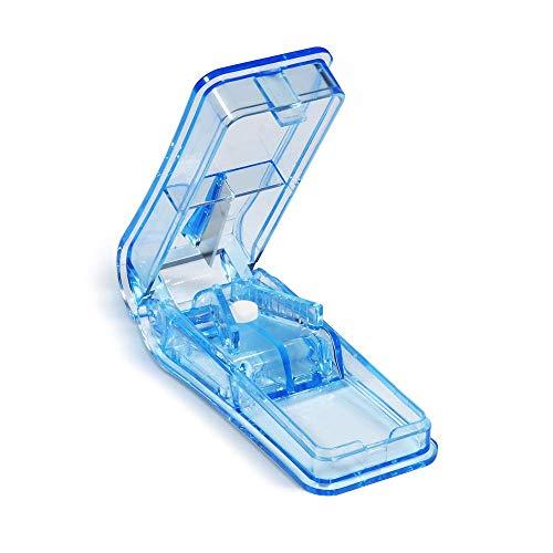 Opret Tablettenteiler für Große und Kleine Tabletten, Tablettenschneider mit Aufbewahrungsfach Blau