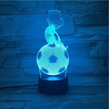 Jiushixw 3D acryl nachtlampje met afstandsbediening van kleur veranderende lamp Vaderdag denken voetbal kind baby geschenk school kleur tafellamp