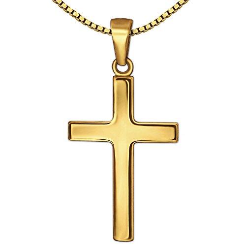 CLEVER SCHMUCK Set Goldener Anhänger Kreuz 24 mm schlicht glänzend 333 Gold 8 Karat mit vergoldeter Kette Venezia 50 cm