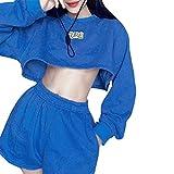 casual outfit corto tipo felpa pantaloncini set ombelico esposto per ufficio blu s