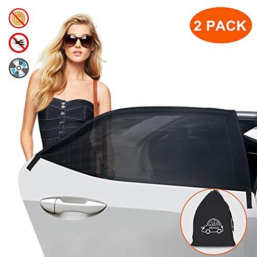 MINLUK Parasol para Ventana de Auto, Universal, Parasol de Malla Transpirable para Proteger a los niños del Sol y los Rayos UV nocivos, Ajuste elástico para Todos los Coches, Camiones y SUV