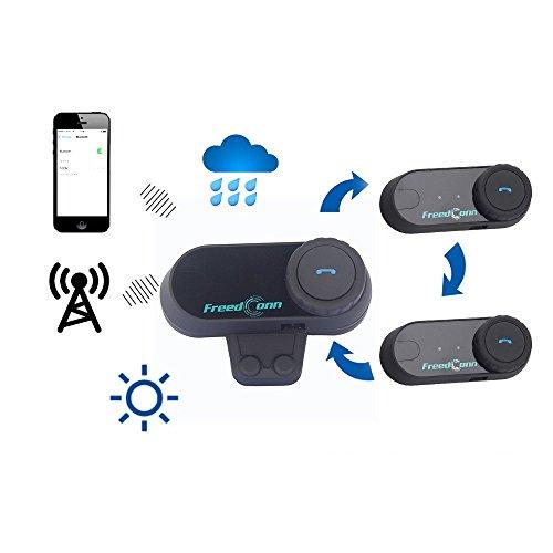 FreedConn Motorrad Intercom Bluetooth Headsets, T-COM VB Motorradhelm Interphone Gegensprechanlage Kommunikationssysteme 2-3 Rider Intercom Kit Mit 800M, GPS, FM Radio (1 Stück mit weichen Kopfhörer) - 6