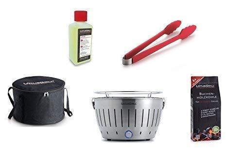 LotusGrill Kit de Démarrage 1x LotusGrill Inox 1x Charbon de bois de hêtre 1kg,1x Pâte brûlante 200ml,1x Pinces à saucisses Rouge,1x sac de Transport le barbecue à charbon de bois sans fumée/