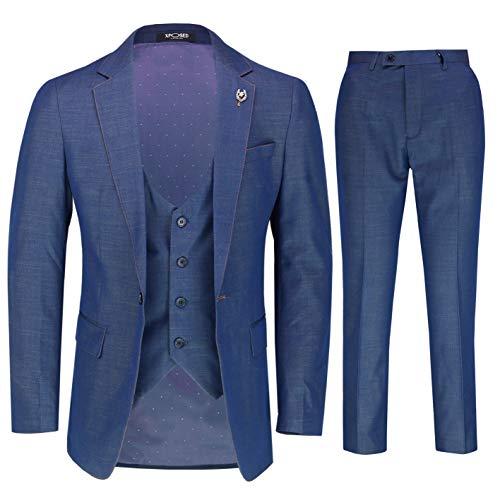 Xposed Herren 3 Stück Anzug 2 Tone Blau elegant Morden Retro Tailored Fit Jacke Weste Hose[SUIT-DRV8185-2-BLUE-44]
