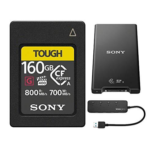 Sony CFexpress Type A 160GB Memory Card MRWG2 CFexpress Type A/SD Memory Card Reader and Knox Gear 4 Port USB 3.0 Hub Bundle (3 Items)