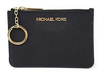 Michael Kors Jet Set Travel Small Top Zip Coin Pouch with ID Holder in Saffiano Leather  Black with Gold Hardware