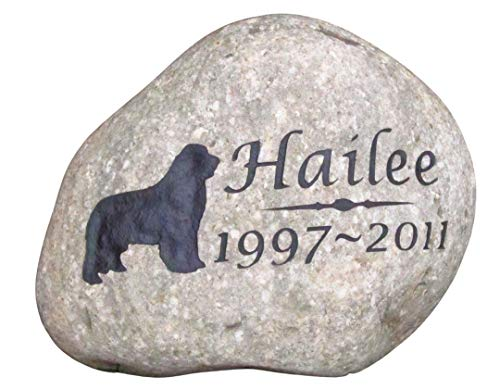 Newfie Pet Memorial Stone, Grave Marker, Dog Memorials 7-8 Inch Riverstone, All Breeds Available