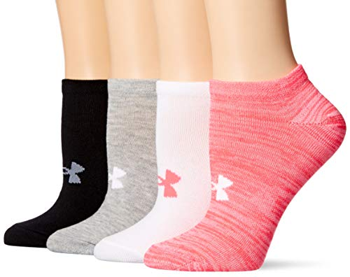 Under Armour Women's Essential No Show Socks, 4-Pairs, Harmony Pink Assorted, Shoe Size: Womens 6-9