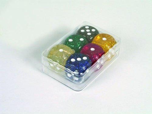 Weible Spiele 6er-Set Würfel aus Acrylglas Glitter (16 mm), Kunststoffschachtel