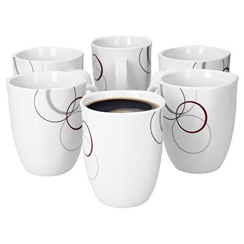 Van Well Lot de 6 tasses à café Palazzo 33 cl - Tasse à café en porcelaine blanche avec cercles décoratifs gris et rouge foncé.
