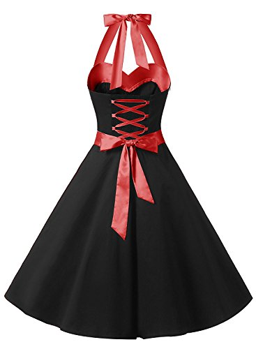 Neckholder Kleid Schwarz im Rockabilly 50er Jahre Vintage Stil - 2