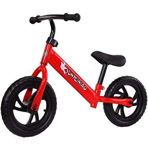 Bicicleta para Niños y Niñas Niños bicicleta de equilibrio de bicicletas Bike Training niños sin pedal del marco ligero de aluminio asiento ajustable con neumáticos de aire Kids First Bike Edad 2 a 6