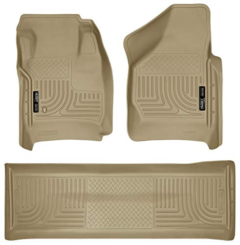 Husky Liners - 98383 Fits 2008-10 F-250/F-350/450 Crew Cab without Manual Transfer Case Shifter Weatherbeater Front & 2nd Seat Floor Mats (Footwell Coverage)